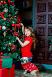 Girl with Christmas presents Royalty Free Stock Image