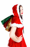 Girl with Christmas presents isolated Stock Image