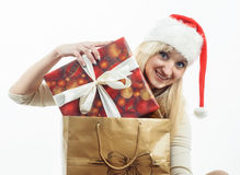 Girl with a Christmas presents Royalty Free Stock Photo