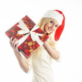Girl with a Christmas presents Stock Images