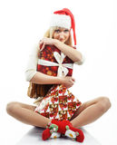 Girl with a Christmas presents Stock Image