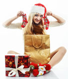 Girl with a Christmas presents Stock Photo
