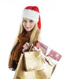 Girl with a Christmas presents Stock Photos
