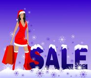 Girl and Christmas sale. Beautiful girl in red with bags near the word 'sale Royalty Free Stock Image