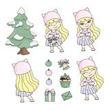 GIRL CHRISTMAS SET New Year Color Vector Illustration royalty free illustration