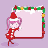Girl with christmas signboard Royalty Free Stock Photography