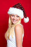 Girl on Christmas is smiling Royalty Free Stock Image