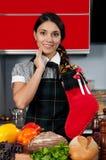 Girl with Christmas sock Stock Image