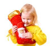 Girl with christmas sock Royalty Free Stock Image