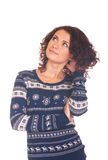 Girl in Christmas sweater Stock Photos