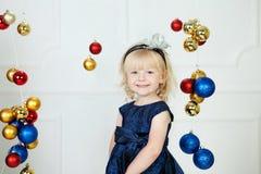 Girl at Christmas time stock photos