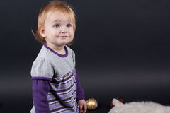 Girl with christmas toy Royalty Free Stock Photography