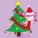 girl with christmas tree Royalty Free Stock Photo