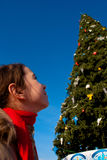 Girl with Christmas tree. Girl looking at the Christmas tree Stock Images