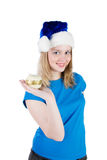 Girl with Christmas tree balls Royalty Free Stock Photos