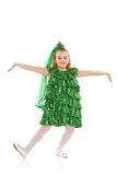Girl in Christmas tree costume royalty free stock photo