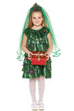 Girl in Christmas tree costume Royalty Free Stock Image