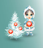 Girl with Christmas tree. Girl decorates the Christmas tree. Vector illustration Royalty Free Stock Image