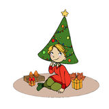 Girl with christmas tree and gifts Royalty Free Stock Images