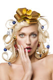 Girl with christmas tree hair Stock Photos