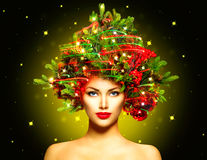 Girl with Christmas tree hairstyle royalty free stock photo