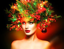 Girl with Christmas tree hairstyle stock photo