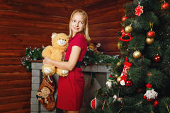 Girl and Christmas Royalty Free Stock Photos
