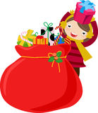Girl and chrsitmas bag Royalty Free Stock Image