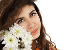 Girl with chrysanthemum Stock Image