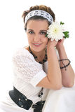 Girl with chrysanthemum. The girl with chrysanthemum on a white background stock photo