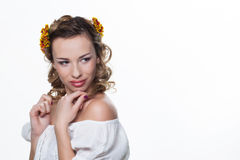 Girl with chrysanthemum wreath Royalty Free Stock Photography