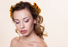 Girl with chrysanthemum wreath Royalty Free Stock Images
