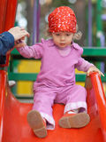 Girl on chute Royalty Free Stock Photography