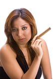 Girl with cigar Stock Images