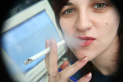 Girl with a cigarette Royalty Free Stock Photos