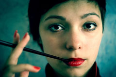 Girl with cigarette Royalty Free Stock Photography