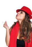 The girl and cigarettes Royalty Free Stock Photography