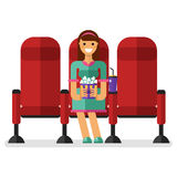 Girl in the cinema. Vector flat style illustration of young smiling girl in the cinema with popcorn and soda watching movie. People in the cinema concept Stock Image