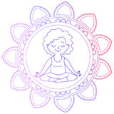 Girl in a circle of mandala. In a lotus pose.Isolated on white background.Vector illustration Stock Image