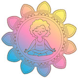 Girl in a circle of mandala. In a lotus pose.Isolated on white background.Vector illustration Stock Photos