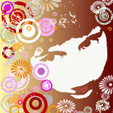 Girl with circles and flowers Royalty Free Stock Photos