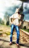 Girl in a city Stock Photos