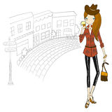 Girl in the city. Hand draw design Royalty Free Stock Photos
