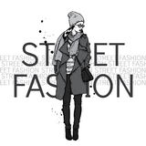 Girl on a city street. Hipster. Vector illustration. Royalty Free Stock Photography
