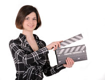 Girl with clapboard Stock Photo