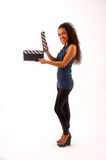 The girl with a clapper-board Stock Photos