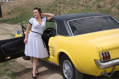 Girl and classic car Stock Photography