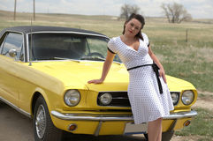 Girl and classic car Royalty Free Stock Photography