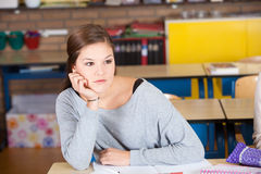 Girl in classroom Stock Photography