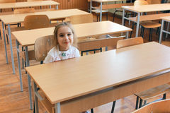 Girl in the classroom Royalty Free Stock Images